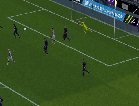 De bal zweeft naar een super doelpunt